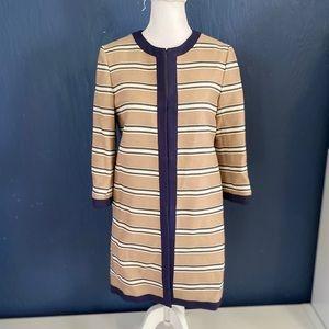 ANN TAYLOR Beige Long Blazer Size Xs Striped NWT.